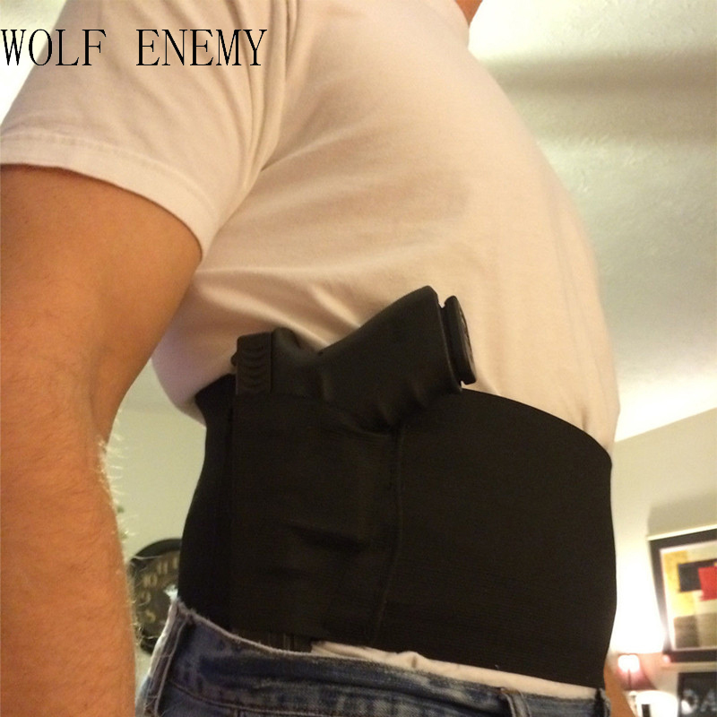 Cheap Concealed Carry Belly Band Gun Pistol Holster + 2 Mag Pouches WAIST For Colt 1911/hk usp compact / P226 /M9 M92fs
