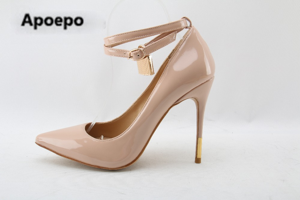 все цены на Apoepo Brand 2018 nude Patent leather women shoes high heels pumps ankle strap Golden lock decor thin heels pointed toe shoes онлайн