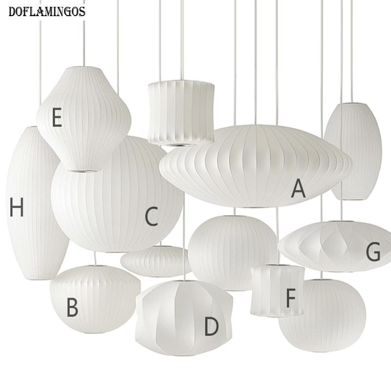 Northern Europe Silk White Chandelier Light E27 LED Round Suspension Drop Lamp Modern Restaurant Bar Restaurant