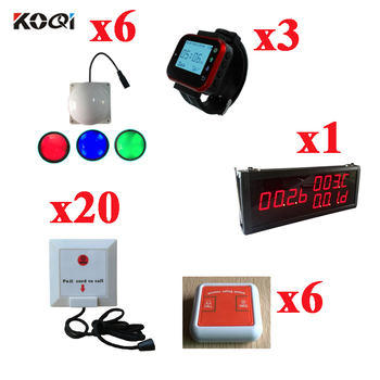 Wireless Hospital Calling System With 433.92MHZ Frequency 1 Display+6 Light+3 Watch+20 Push Button+6 Caller