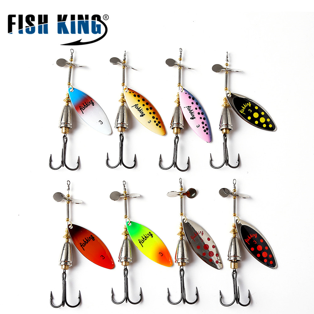 FISH KING 10 Color Mepps Spoon Long Cast Spinner Bait Copper Material With Helieal Blade With Mustad 35647 Hooks ...