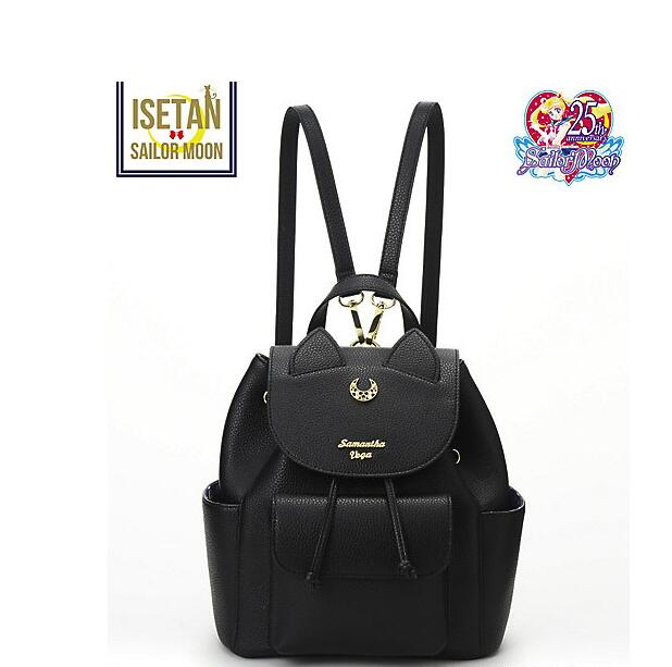 1 piece metal logo Sailor Moon PU Leather Multifunction Black White Luna Cat Ladies Backpack Girls Travel Back Pack schoolbag