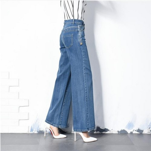 Plus Size 40 Women Boot Cut Jeans Ladys Flares Bell-bottom Trousers Female High Waist Wide Leg Pants  2017 new plus size clothing spring bell bottom jeans female lengthen boot cut mid waist big horn denim trousers
