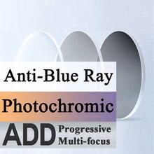 Para progresywna wieloogniskowa i fotochromowa i anty niebieska soczewka optyczna krótkowzroczność prezbiopia 1.56 1.61 1.67 indeks