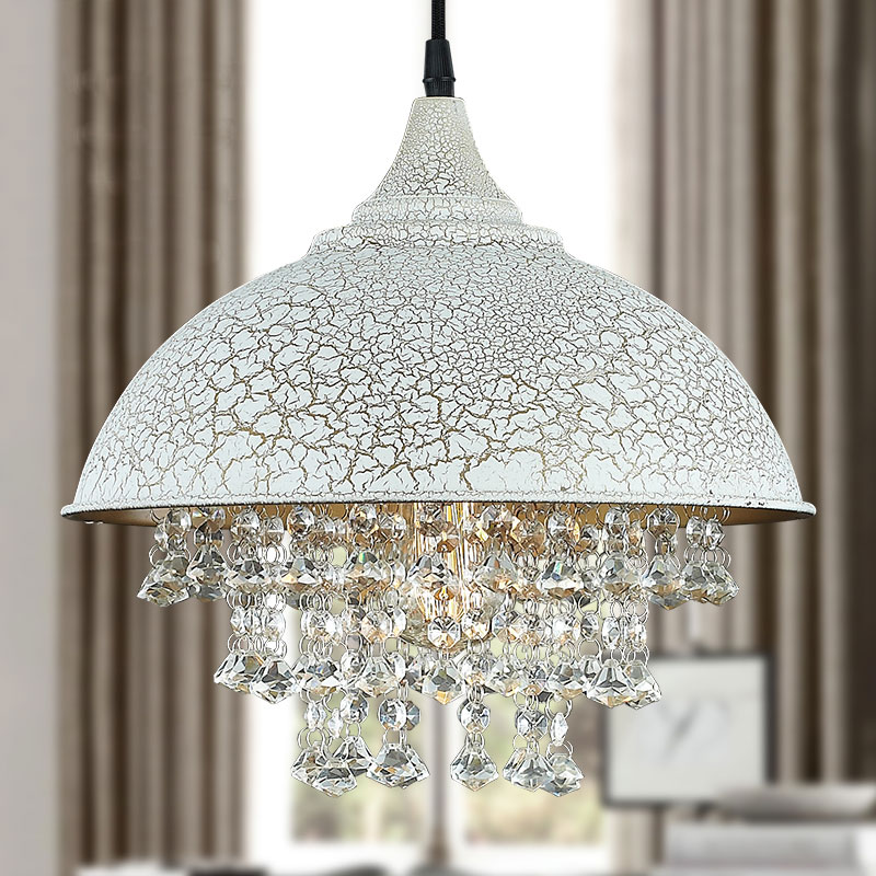 loft American country retro iron pot lid crystal pendant light clubs bar dining hang lam ...