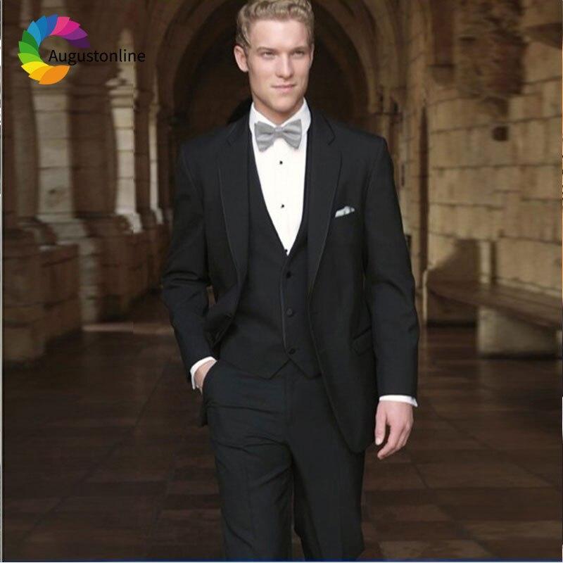 Italian Black Men Suits Wedding Suits For Man Blazer Suit Custom Made 3Piece Jacket Pants Vest Slim Fit Groomsmen Groom Tuxedos