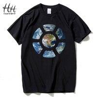 HanHent земли замечено пространство футболки Для мужчин; короткий рукав Свободные шею футболка Повседневное летние топы Для мужчин; хлопковая ...