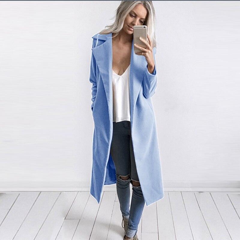 Mode Chaud Laine gris 2018 bleu Manteau Outwear Hiver Revers Tranchée Pardessus Mince rose Femmes Noir kaki RgxdHa