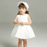 Fashion Formal Newborn Wedding Dress Baby Girl Bow Pattern For Toddler 1 Years Birthday Party Baptism Dress Clothes With Hat