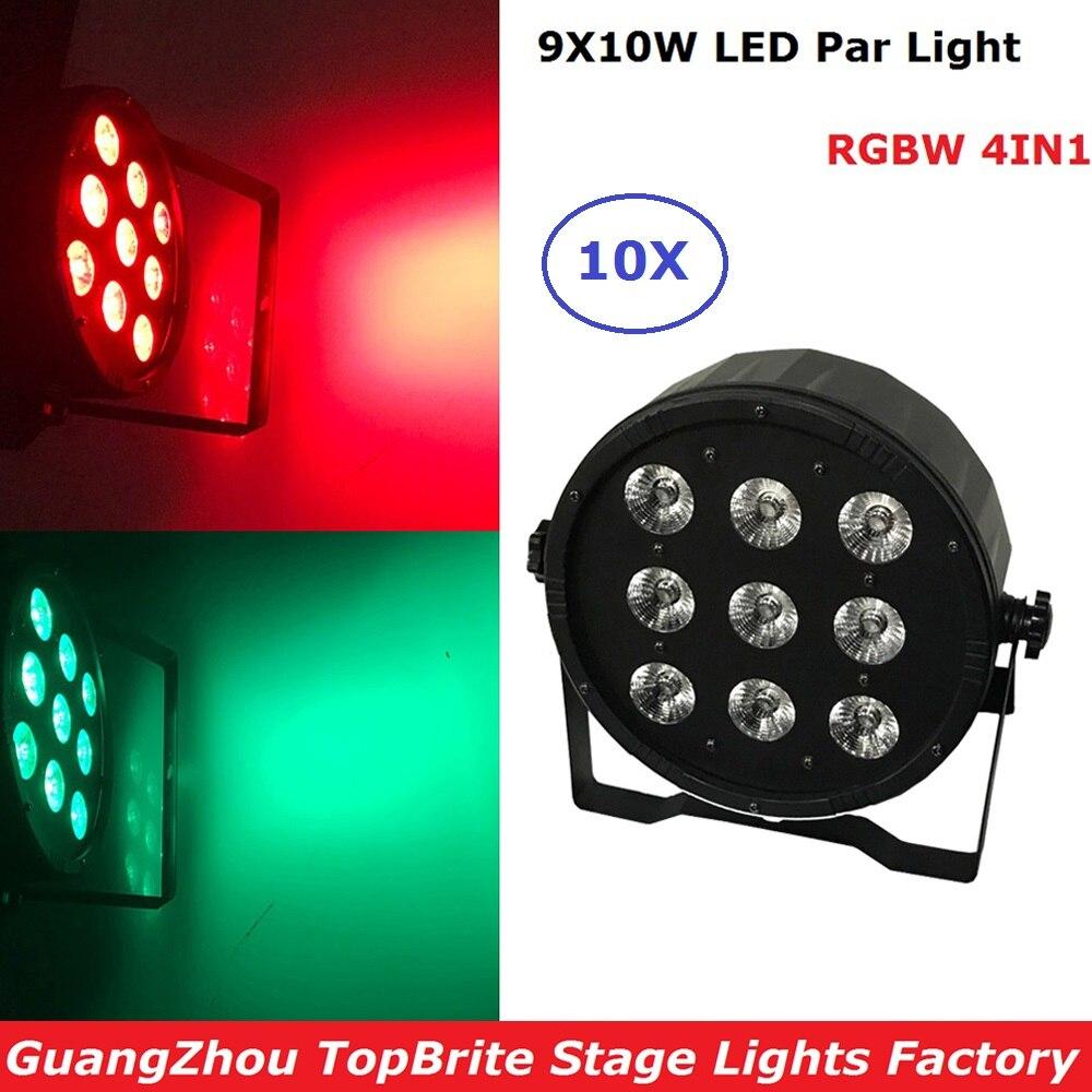 10Pcs/Lot Mini LED Flat Par Light 9X10W RGBW 4IN1 DMX 512 Control High Power Professional Stage Light For Party Club DJ Disco