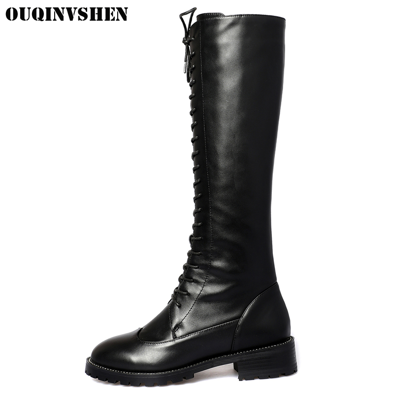 OUQINVSHEN Round Toe Square heel Women Boots Winter Cross Tied Zipper Knee Boots High Heels Genuine Leather Ladies High Boots ouqinvshen round toe lace up women boots fashion mixed colors women ankle boots new winter short plush cross tied ladies boots