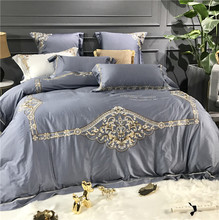 Gray Blue White Purple Luxury Gold Embroidery 80S Egyptian Cotton European Palace Bedding Set Duvet Cover Bed sheet Pillowcase