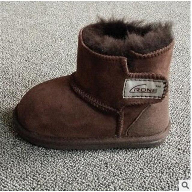 2016 детские ботинки снега Детские Младенческая Малышей шерсть мех теплая зима