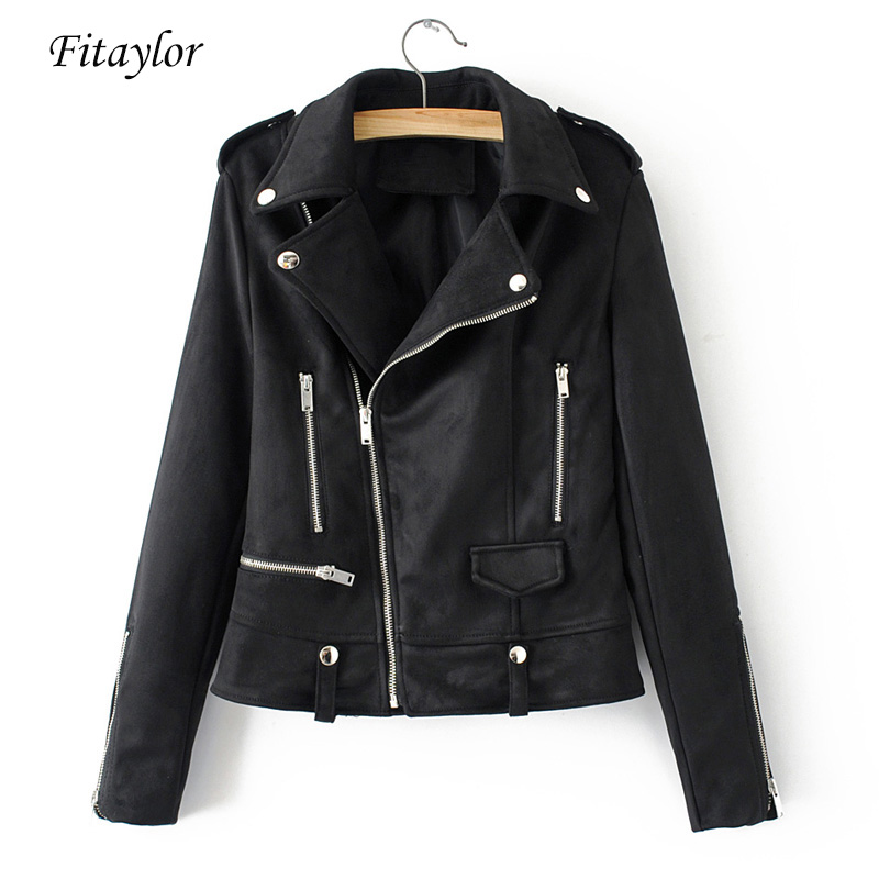 Fitaylor Faux Leather Suede Jacket Women Short Coats Soft Leather Rivet Zipper Black Motorcycle Punk Jacket