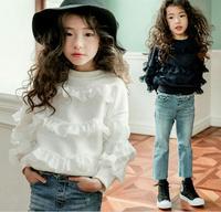 2018 New Spring Ragazze Adolescenti Ruffles Solid Top, ragazze T-Shirt Girocollo Modo Lacework Usura di Alta Qualità di Vendita Al Dettaglio
