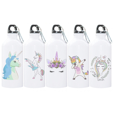 Aluminum Water Bottle with Cartoon Unicorn Print