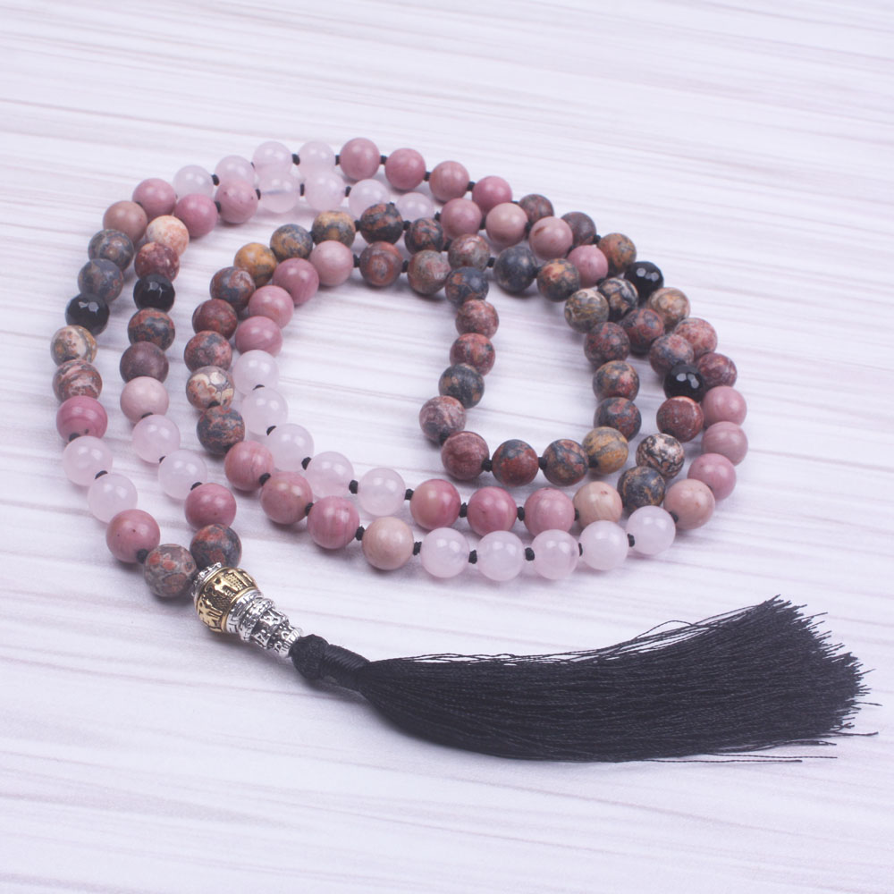 Mixed 8mm Natural Stone Bead knotted long necklace for women 108 mala Handmade tassel Necklace yoga jewelry dropshipping