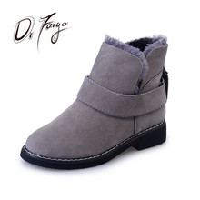 ФОТО drfargo woman snow boots winter flats slip-on casual ankle boots for women fur warm low heel chaussure mujer botas female shoes