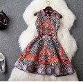 Платье вышивка бисером жаккард винтажный Mini без рукавов, европа леди королевский ручной работы ретро Vestido лето