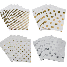 WEIGAO 25Pcs Gold Dot Striped Star Gift Bag Paper Bags for Kids Birthday Party Decoration Dessert Candy Bar Bag Snack Cookie Bag