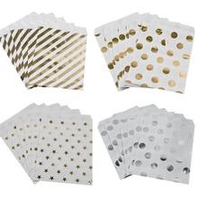 WEIGAO Bolsa de regalo de estrellas a rayas con puntos dorados, bolsas de papel para decoración de fiesta de cumpleaños para niños, bolsa de Bar de dulces, galleta de aperitivo, 25 uds.