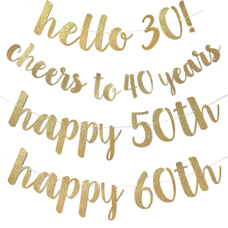 MEIDDING Hello 30 40 50 60 Adult Birthday Party Decoration Confetti Banners Happy Cheers To 30 40 50 60 Year Birthday Banners