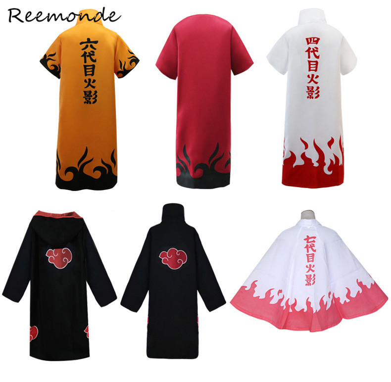 Anime Naruto Cosplay Costume Akatsuki Cloak Yondaime Hokage Namikaze Minato Costume For Men Boys Cloak Cape Wind Dust Coat