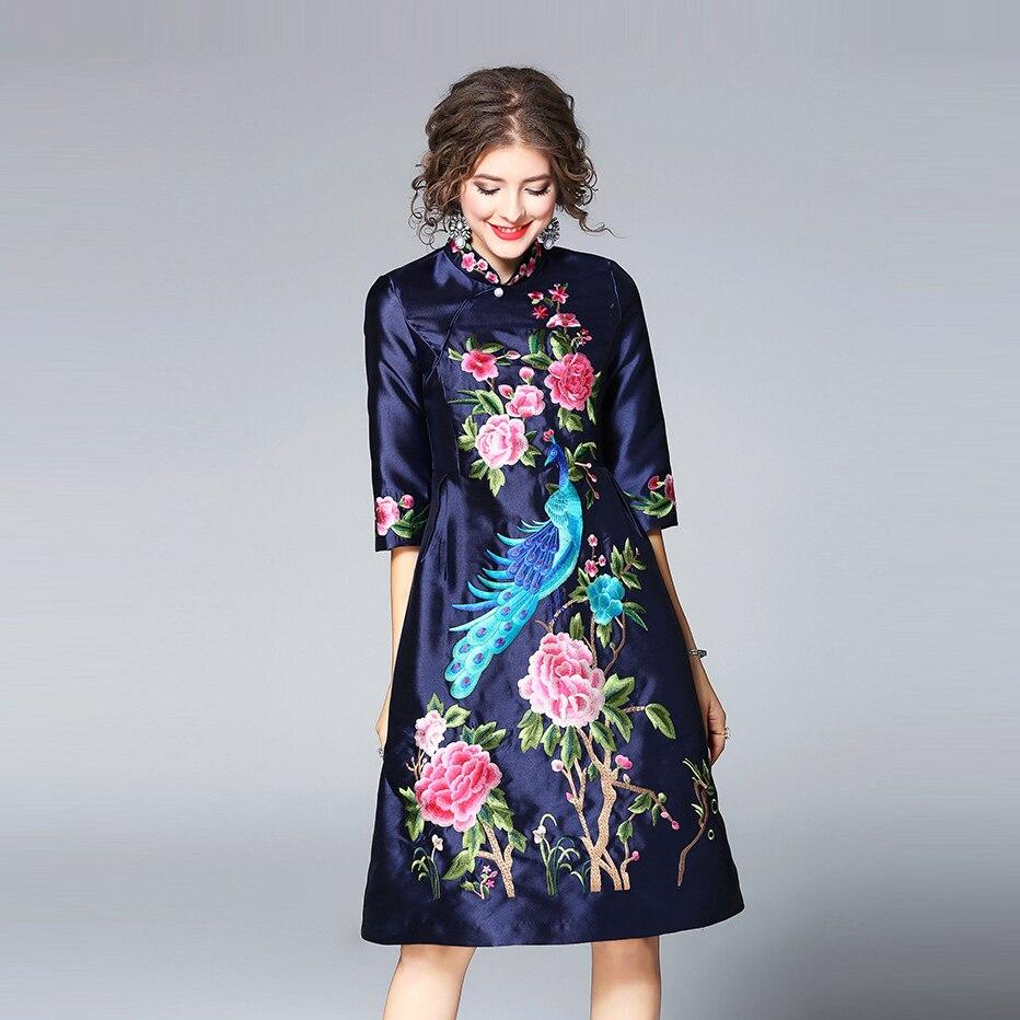 2018 Elegant Embroidery Cheongsam Summer Dress For Women Chinese Style Half Sleeve Mandarin Collar Dresses Female