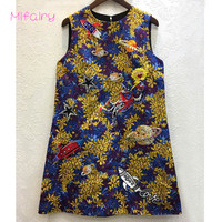 2017 Blue O Neck Sleeveless Gold Jacquard Short Jumper Dress Vintage Letter Beads Crystals A Line