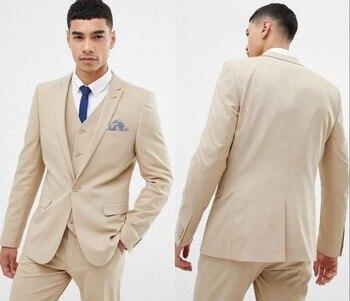 New Arrival One Button Beige Groom Tuxedos Peak Lapel Groomsmen Men Blazers 3 pieces Suits (Jacket+Pants+Vest+Tie) NO:313