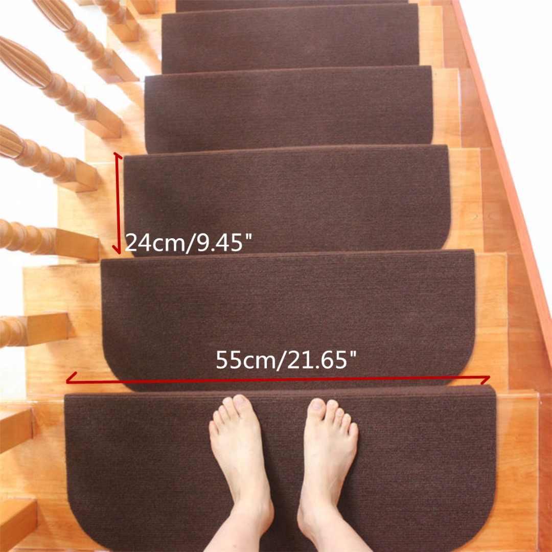 Hot Sale Non Slip Adhesive Carpet Stair Treads Mats Mayitr | Carpet Stair Treads For Sale | Bullnose Carpet | Staircase Remodel | Stair Runners | Carpet Runners | True Bullnose