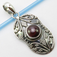 India Unique Designed Natural Red Garnet Oxidized Pendant 1.7 Silver Women's Jewelry