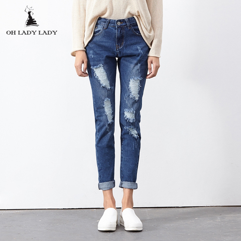 Spring Fashion Style Large Size Baggy Women Jeans Distressed Boyfriend Jeans Blue Denim Ripped