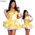 SESERIA Новая Фантазия Женщины Хэллоуин Косплей Southern Красавица И Чудовище Взрослых Принцесса Белль Костюм Желтый Dress