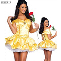 SESERIA New Fantasia Women Halloween Cosplay Southern Beauty And The Beast Adult Princess Belle Costume Yellow Dress