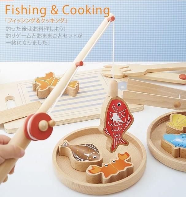 New Chegou Bebê Brinquedos de Pesca/Cozinha 2 Em 1 Conjunto Montessori Brinquedos De Madeira Pretend Play Food Presente Das Crianças