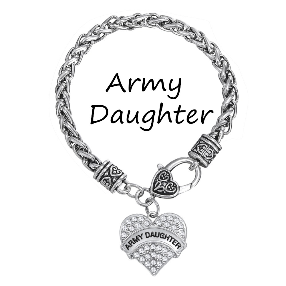 My Shape Silver Plated Crystal Heart Army Daughter Charm Bracelets Teen  Girls Jewelry(china (