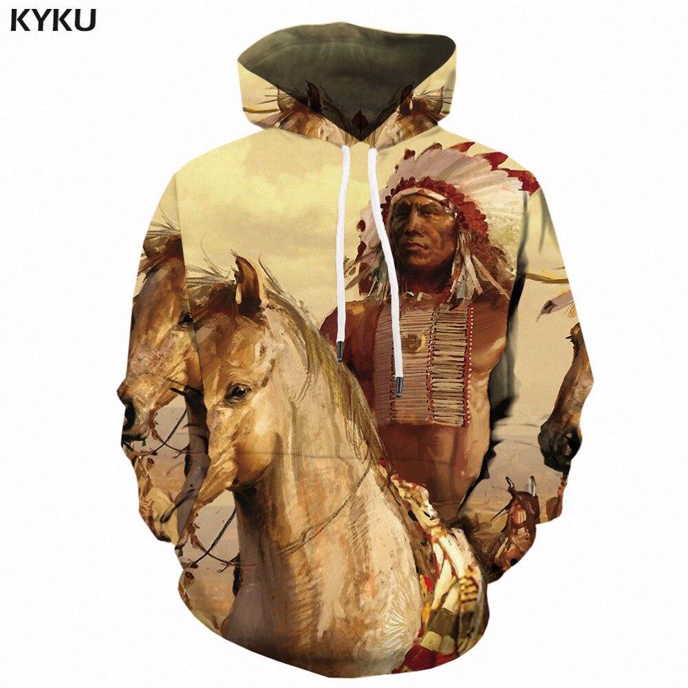 KYKU Horse Hoodie Men Animal Hoody Indian 3d Hoodies Anime Man Character Print Sweatshirt Long Mens Clothing Pullover Hooded New