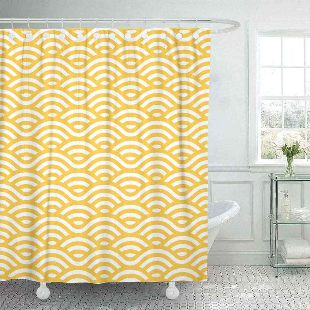 Shower Curtain with Hooks Orange Sea Yellow and White Waves Linear Colorful Asian Fish Pasta Circle Italian Ramen Bathroom