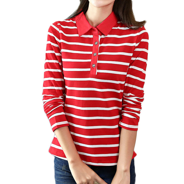 Us 13 2 17 Off 2019 Spring Autumn Casual Striped Polo Shirt For Women Long Sleeve Slim Polos Mujer Women Tops Lady Polo Shirt Femme Plus Size In