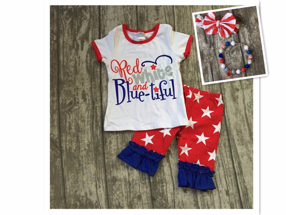 baby girls summer clothing children July 4th Patriotic clothes kids red white and blue-tiful outfits star capris with accessorie