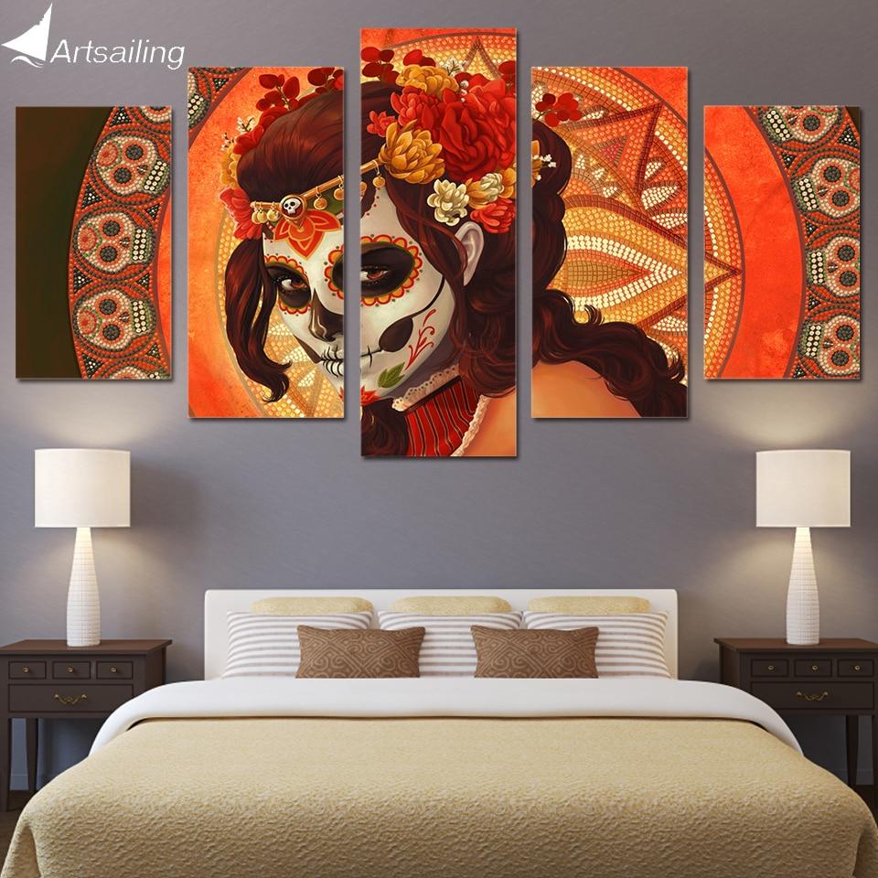 HD 5 stuk Canvas Art HD Gedrukt Dag van de Dode Gezicht suiker schedel Groep Canvas Schilderij Modulaire Foto Gratis verzending / NY-279
