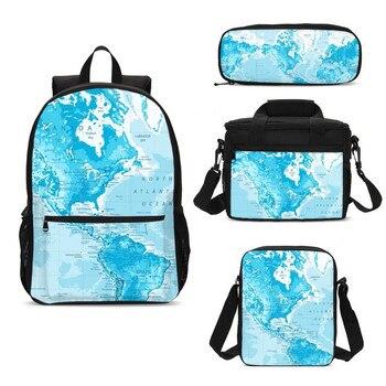 4Pcs/Set Portfolio School Bags For Boys Girls Cool World Map 3D Printing Backpacks Teenager Kids Bookbag Rugzak Mochila Escolar