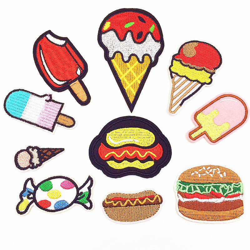1 PC Embroidery Patch Icecream Patches for Clothing Iron Children Stripes on Clothes Child Stickers Decoration