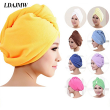 LDAJMW Turban Microfiber Fabric thickening Dry Hair Hat Super Absorbent Amazing Magic Quick-drying Hair Shower Cap Bath towel