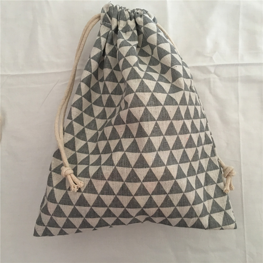 YILE 1pc Cotton Drawstring Bag Multi-purpose Organizer Pouch Party Gift Bag Gray Mini Triangle 190111c