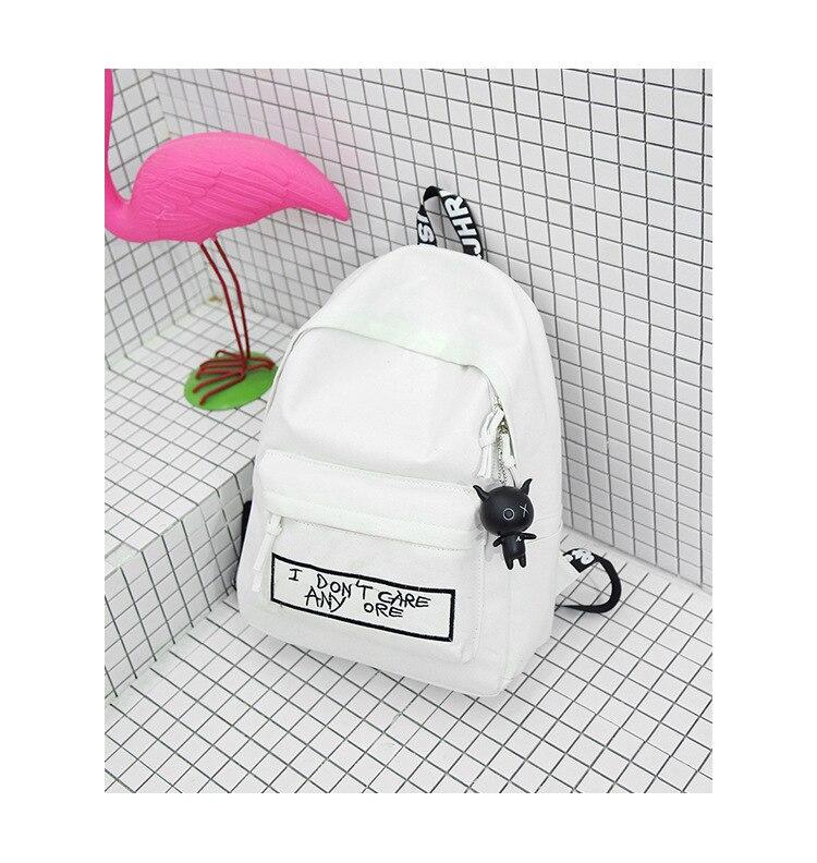 HTB1SVt9aRWD3KVjSZFsq6AqkpXaG 2019 New Backpack Fashion Canvas Women Backpack Doll Pendant Travel Women Shoulder Bag Harajuku Backpack Female Mochila Bagpack