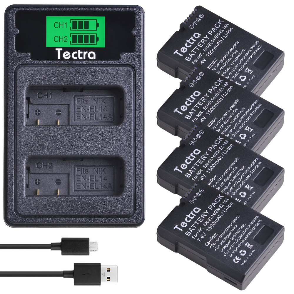 4PCS 1500mAh EN-EL14 EN-EL14A ENEL14 Battery For Nikon D3100 D3200 D3300 D3400 D3500 D5600 D5100 D5200 P7000+LCD Battery Charger