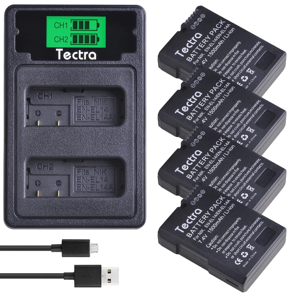 4 шт. 1500 мАч EN-EL14 EN-EL14A ENEL14 батарея для Nikon D3100 D3200 D3300 D3400 D3500 D5600 D5100 D5200 P7000 + ЖК-зарядное устройство