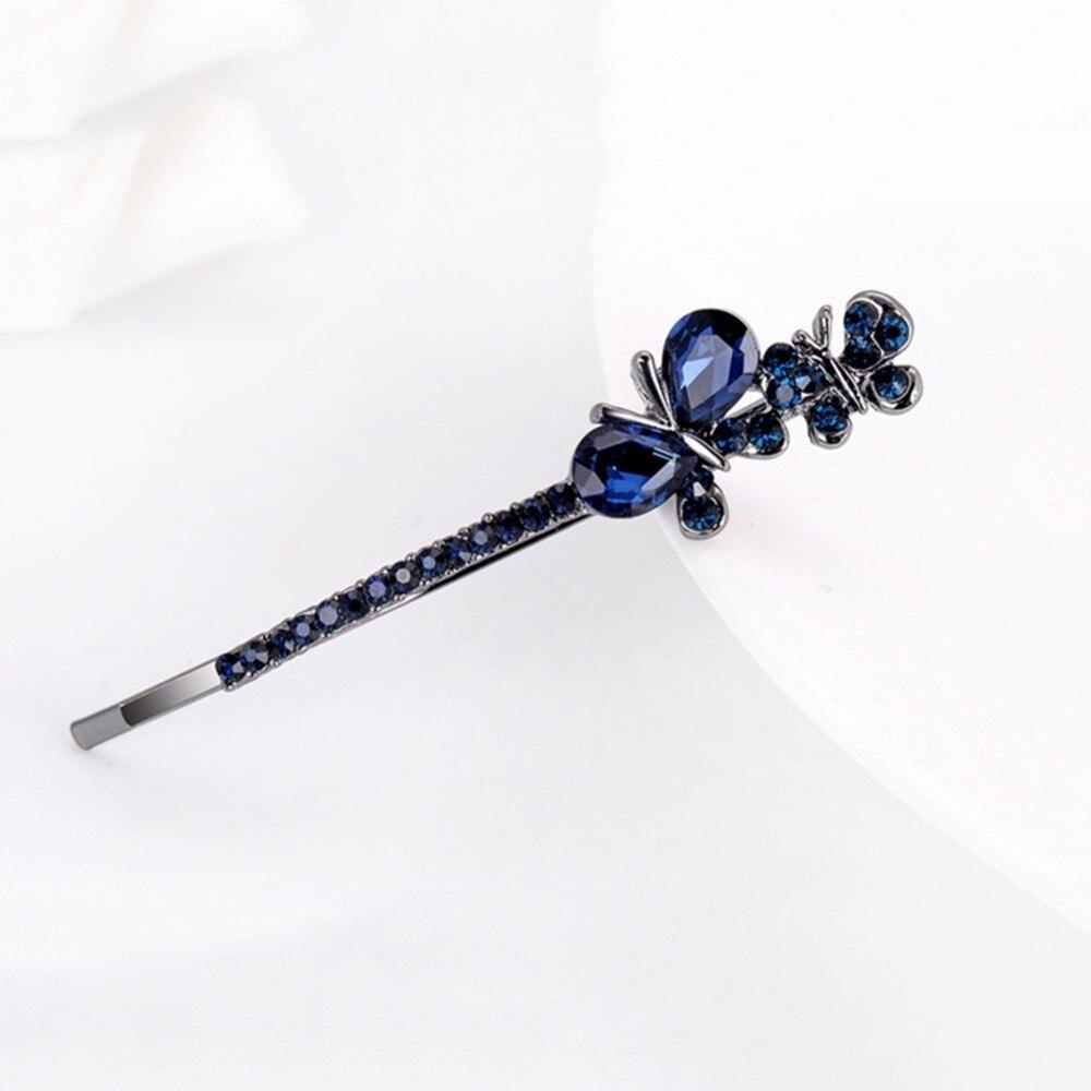 Бабочка Заколки для волос темно-синий заколки для волос аксессуары Шпильки для Для женщин головной убор 9 см длинные оптовая продажа